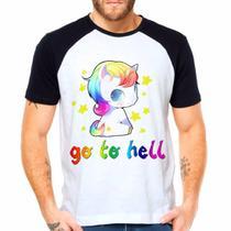 Camiseta Unicórnio Go To Hell Raglan Manga Curta - Eanime