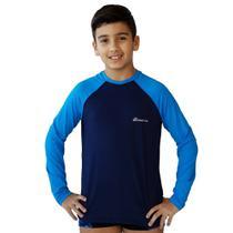 Camiseta UV Protection Just Fit Infantil Manga Longa Raglan / Marinho-Azul Fluor / 4 -