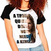 Camiseta Vikings Lagertha A True Queen Mod01 Raglan Babylook - Eanime
