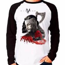 Camiseta Vikings Ragnar Lothbrok Série Raglan Manga Longa - Eanime