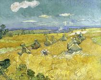 Campo de Trigo com Ceifeiro, Arles - Vincent van Gogh - 50x63 - Tela Canvas Para Quadro - Santhatela