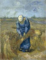 Camponesa Ceifando Trigo - Vincent van Gogh - Tela 50x66 Para Quadro - Santhatela
