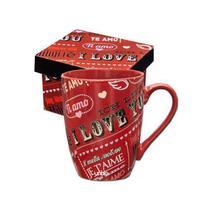 Caneca Ceramica Love com Caixa Cartonada 360ML Unika 116 -