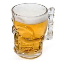 Caneca Chopp Cerveja Vidro Caveira Rock 510 ml - Lyor