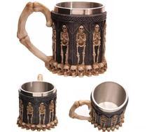 Caneca Chopp Medieval Inox Resina Cranio Caveira - Box7