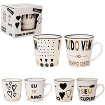 Caneca de porcelana gold love 300ml na caixa wx - Wellmix