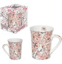 Caneca de Porcelana Muddy Decorada com Flor Rose 320ml na Caixa Wx - Wellmix