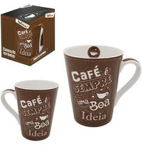 Caneca de Porcelana para Cafe Cappuccino Conica 340ml na Caixa Wx - Wellmix