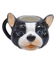 Caneca De Porcelana Rosto Cachorro Pug Francês Preto E Branco 470ml - Tascoinport
