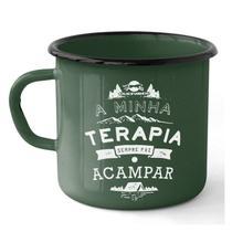 Caneca em Ferro Esmaltado Estampada Camping Terapia Guepardo UC0702 -
