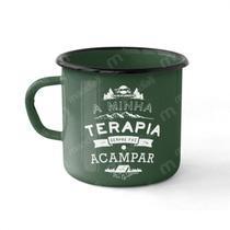 Caneca Esmaltada 250 Ml Verde Camping Terapia Guepardo -
