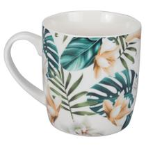 Caneca Flowery 340ml - Bege e Verde - Dynasty -