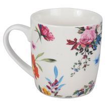 Caneca Flowery 340ml - Rosa e Laranja - Dynasty -