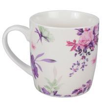 Caneca Flowery 340ml - Rosa e Roxo - Dynasty -