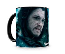 Caneca Game of Thrones Jon Snow Wolf Black - Artgeek
