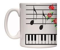 Caneca porcelana Teclas piano - Lojaloucospormusica