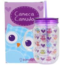 Caneca Pote Corridinhos De Corujas Com Canudo 10020945 - Zona criativa