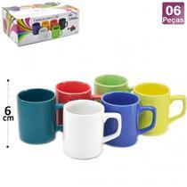 Canecas Em Ceramica Para Cafe 85ml Coloridas 6 Unidades - Unicasa