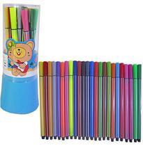 Caneta Canetinha Hidrocor Escolar Colorido 24 Cores com Base - Elegantec
