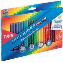 Caneta Hidrográfica 24 Cores Lavável Mega Hidro Color Tris -