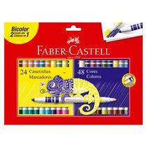 Caneta hidrográfica bicolor - 150624N - 2 em 1 com 48 cores - Faber-Castell -