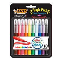 Caneta hidrográfica ponta pincel Brush Pens Intensity - com 10 unidades - Bic -