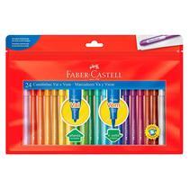 Caneta hidrográfica ponta Vai e Vem 150124VVZF com 24 cores - Faber-Castell -