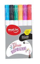 Caneta Marcador Molin Outline Marker 2 Cores em 1 Traço Metálica Estojo com 6 Cores 5078 -