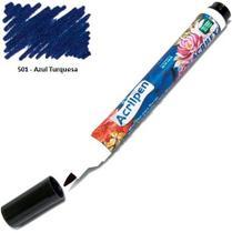 Caneta Marcador para Tecido Acrilpen 501 Azul Turquesa - Acrilex -