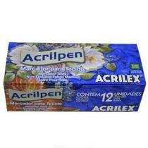 Caneta Para Tecido Preto Acrilpen Cx.C/12 Acrilex -