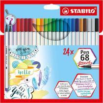 Caneta Porosa 1.0mm Stabilo Pen Brush 568 com 24 Cores 568/24-211 -