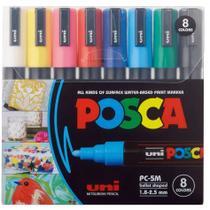 Caneta Posca 1.8-2.5 8 cores PC-5M Uni -