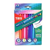 Caneta tris mega hidrocolor tris 12 cores tons pastel -