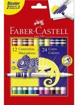 Canetinha Hidrocor Bicolor 12-24 Cores Faber Castell -