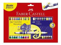 Canetinha Hidrocor Bicolor Faber Castell 24 - 48 Cores - Faber-Castell