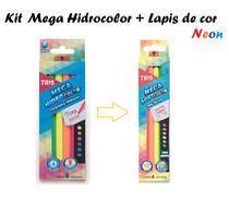 Canetinha Mega soft Tons neon Tris + Lápis de cor Neon c/6 -