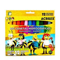 Canetinhas Jumbo 12 cores Hidrográficas Acrilex -