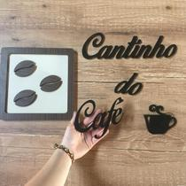 Cantinho do Café frase 60 cm + 1 Quadro 21 cm Mdf laminado Grãos - Souvenir Decor