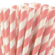 Canudo de Papel Listra Grossa Rosa Claro 20 unidades Plastifer - Festabox