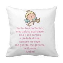 Capa Almofada Decorativa Oração Santo Anjo Protetor Menina 40x40 - Soninho De Bebê