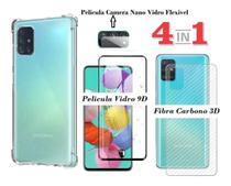 Capa Anti Impacto Galaxy A51 + Pelicula de Vidro 3D 9D + Pelicula Camera + Skim Verso 3D - Flex -