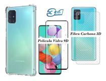 Capa Anti Impacto Galaxy A51 + Pelicula de Vidro 9D  + Skim Verso Fibra de Carbono 3D - Flex