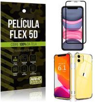 Capa Anti Impacto iPhone 11 6.1 + Película Flex 5D Cobre toda tela - Armyshield -