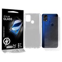 Capa Anti impacto transparente + Pelicula Skin Fibra de Carbono Galaxy M21 E M21S  (Tela 6.4) - Cell In Power25