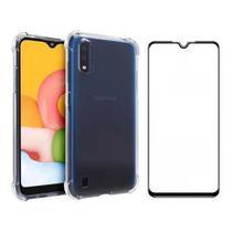 Capa Anti Impactos + Película 3D Vidro Tela Toda Samsung A01 - Xmart