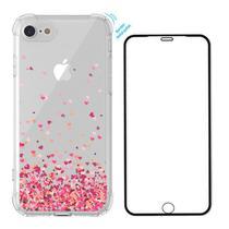 Capa Anti Queda Corações iPhone SE 2020 + Película 3D Vidro - Coronitas Acessorios