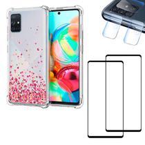 Capa Anti Queda Corações + Película 3D Vidro + Película Câmera Galaxy A71 - Coronitas Acessorios