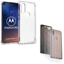 Capa Anti Shock + 4x Películas Vidro Básica Motorola One Vision XT1970 - Fit.it