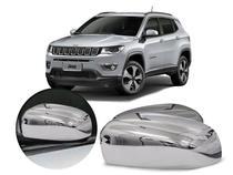 Capa Aplique Espelho Retrovisor Cromado Jeep Compass -