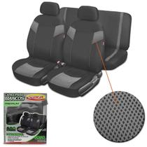 Capa Banco Automotivo Luxcar Premium Preto com Cinza 6 Peças Universal Tecido Poliéster -